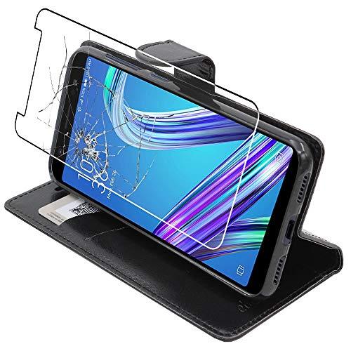 ebestStar - Coque Compatible avec ASUS Zenfone Max M1 ZB555KL Etui PU Cuir Housse Portefeuille Porte-Cartes Support Stand, Noir + Film écran Verre Trempé [Appareil: 147.3 x 70.9 x 8.7mm, 5.5'']
