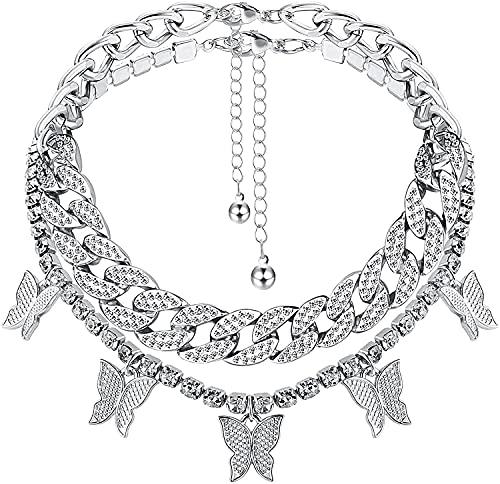 Milacolato Crystal Butterfly Choker Halskette Gold/Silber Strass Anhänger Halsketten Tennis Cuban Link Chain Sparkly Butterfly Party Schmuck für Frauen Damen Mädchen