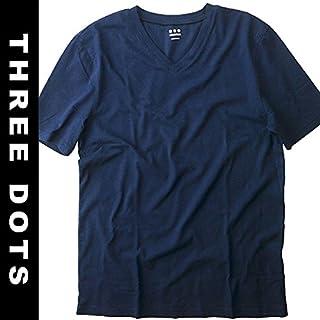 three dots(スリードッツ) メンズ Tシャツ Vネック 半袖 ネイビー アメリカ製 [並行輸入品]