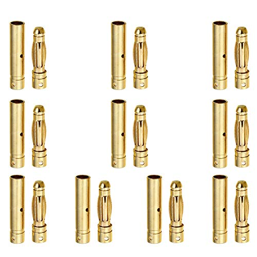 Hobbypark 10 Pairs Female Male 4mm 4.0mm Gold Bullet Connector Plug for RC Battery ESC Motor Wire Plug