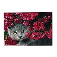 300ピース ジグソーパズル 猫と赤の花 木製 DIY 大人 子供向け ブレインティーザー ゲーム 動物 風景 壁飾り 装飾画 人気 ギフト プレゼント ストレス解消