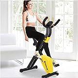 F-Bike/Vélos d'appartement Pliable Fitness/Entraînement Cardio/Home Trainer/Entraîne Tout Le Corps/d'exercice à l'Intérieur, écran LCD, Selles Confortable, Fois Plié, Peu de Place, Yellow