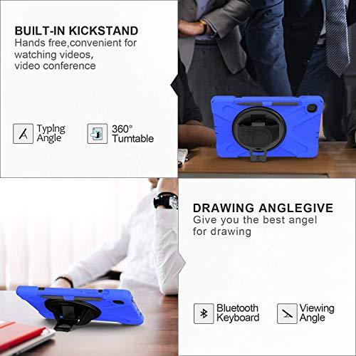 Gerutek Hülle Samsung Galaxy Tab S6 Lite 10.4-Zoll P610/P615, Stoßfeste Robust Panzerhülle mit Stifthalter, Drehbar Stände, Handschlaufe, Schultergurt und Schutzhülle für Samsung Tab S6 Lite, Blau