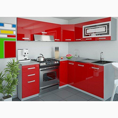 JUSTyou Lidja L-Küche Küchenzeile Küchenblock 190x170 cm Farbe: Rot Hochglanz