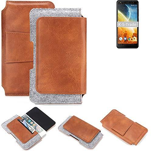 K-S-Trade Schutz Hülle Für Energizer Power Max P490S Gürteltasche Holster Gürtel Tasche Schutzhülle Handy Smartphone Tasche Handyhülle PU + Filz, Braun (1x)
