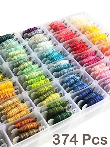Embroidery Floss Kit-DMC Color-100 Embroidery Thread Organizer Storage Box, Friendship Bracelet String,Embroidery string for Bracelets, Cross Stitch Thread Kits,Embroidery Yarn Set Tools Beads 374 PCS