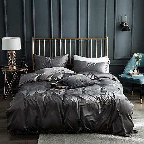 Juego de ropa de cama con funda de edredón,Lavar las hojas de seda de Tweet se colocaron en una cama de cuatro piezas de cama de color sólido simple-L_1,8 m de cama (4 piezas) (20 series de 200 * 230