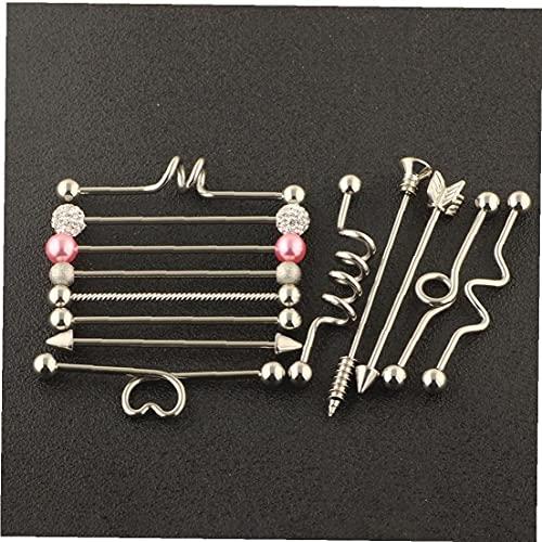 Perforación del ornamento, 13pcs perforación del cuerpo joyería de moda Simplemente Industrial Diseño Barbell del perno prisionero del oído perforación del cartílago pendiente Barra pendientes para