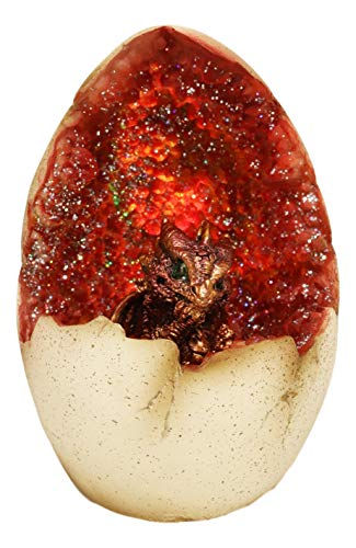 Ebros 5' Tall Red Hatchling Wyrmling Dragon in Crystal Quartz Geode Egg Figurine with Colorful LED Night Light As Dungeons and Dragons Fantasy Themed Decor Accent