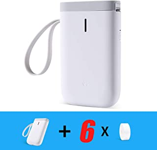 Label Printer,D11 Portable Smart Label Maker with Bluetooth Thermal Label Printer Suit for Home,Office Organization and All Occasions (6 Rolls Paper, D11 Label Printer)