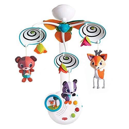 Tiny Love Classic Mobile Movil musical cuna bebé, 3 melodias, luz nocturna, Espirales en blanco y negro para una estimulacion visual, Se convierte en una caja de música portátil, Into the Forest