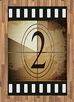 Ambesonne Movie Theater Area Rug Countdown Screen Illustration with Number 2 on Grunge Background Flat Woven Accent Rug for Living Room Bedroom Dining Room 4  X 5.7  Brown White