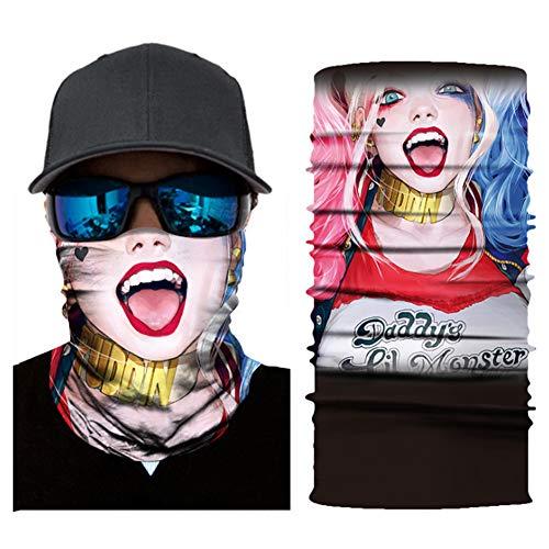 Chiefstore Super Hero Bandanas Harley Quinn Maske Halbgesicht Motorrad Bandanas Staubgesichtsmaske Angelschal
