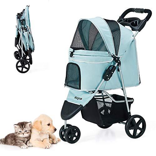 Pet Stroller, Dog Cat Stroller with Storage Basket, Cup Holder, NO-Zip Design, Portable Foldable Travel Pet Trolley Jogging Stroller 3 Wheels -Blue