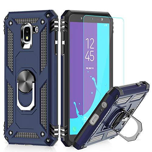 LeYi Funda Samsung Galaxy J6 2018 Armor Carcasa con 360 Anillo iman Soporte Hard PC y Silicona TPU Bumper antigolpes Fundas Carcasas Case para Movi Samsung J6 con HD Protector de Pantalla,Azul
