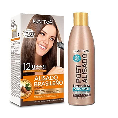 KATIVA Pack Ahorro Kativa Alisado Brasileño + Acondicionador Post Alisado - Tratamiento Profesional En Casa - Hasta 12 Semanas de Duración 60 g