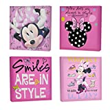 "Features colorful and unique Minnie Mouse designs Set features 4 square canvases - each piece featuring a different design Can stand alone or as part of a set No assembly required - canvas material is easy to mount Dimensions of each piece: 11"" L x 1..."