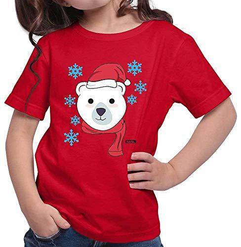 Hariz - Camiseta para niña, diseño de oso polar rojo 152 cm(12-13 År)