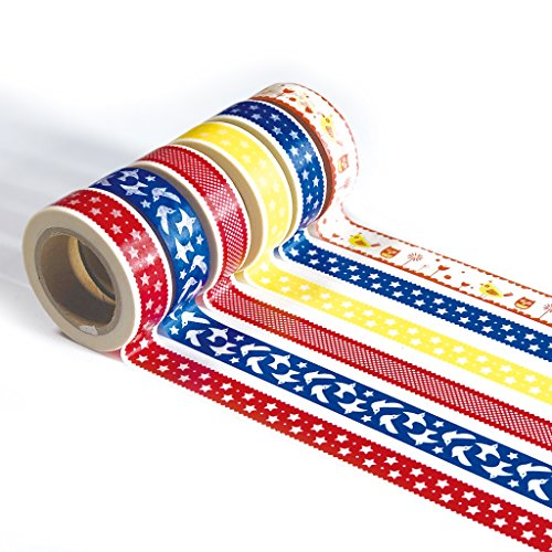 Ultra Premium Washi Tape - Perfect Multi Purpose Colored Masking Tape for Walls, Arts and Crafts, DIY, Scrapbook (Folk Implosion)