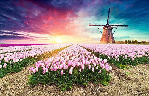 Puzzel Voor Volwassenen 1000 Stukjes, Hollandse Molen, Tulpenlandschap,Kinderen Speelgoed Geschenken