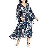 City Chic Women's Apparel Women's Plus Size Long Sleeve WRAP Printed Maxi Dress, Luna Floral, X-Large (Apparel)