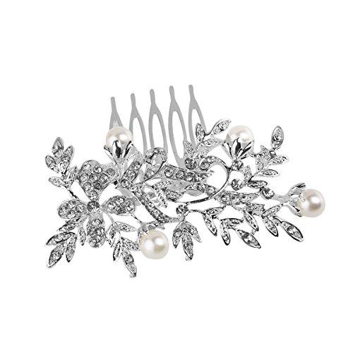 ROSENICE Brautschmuck Haarkamm Haarnadel Perlen Strass Blätter Blume Haarschmuck Silber