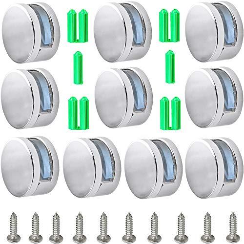 Her Kindness 10 pcs Soporte de Estante de Clip de Vidrio de Aleación de Zinc Abrazaderas de Sujeción Redondas Para 3-6 mm,Ampliamente utilizado en baños, hoteles