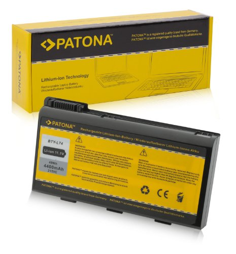 PATONA Batterie adapté pour Laptop/Notebook MSI A5000, A6000, A6200, CR600, CR610, CR700 et Bien Plus Encore. Li-ION, 4400mAh, Noir