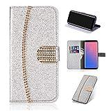 Artfeel Leder Brieftasche Hülle für Huawei P20 Pro, Glitzer Kristall Strass Flip Handyhülle mit Kartenhalter,Bling Diamant Magnetverschluss Bookstyle Stand Hülle-Funkeln Silber