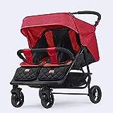 Not a brand Carro Doble Cochecito de bebé Puede Sentarse reclinable Plegable Doble Cochecito Segundo Hijo Cochecito de bebé (Color : Red)