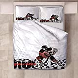 JKCloth Sets de Housse de Couettes 140x200cm + 2 Taies D'oreillers 50x75cm Parure, Tissu 100% Coton, Doux et Anti-Allergique, Photo Impression, Hockey sur Glace