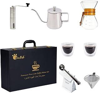 طقم ماكينة تحضير القهوة بالتنقيط V60 من 7 قطع من انفيش، يشتمل على غلاية قهوة مخصصة للقهوة المنقطة وميزان الكتروني (7 قطع)