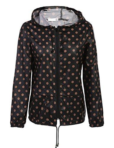 cosway Womens Waterproof Rainwear Lightweight Hoodie Raincoat Outdoor Sport Jacket,Black,Small