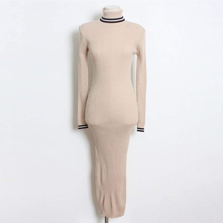 Cxlyq Dresses Autumn Stand Collar Full Sleeve Slim Hip Packaged Knitted Dress Elegant Women Solid Skinny