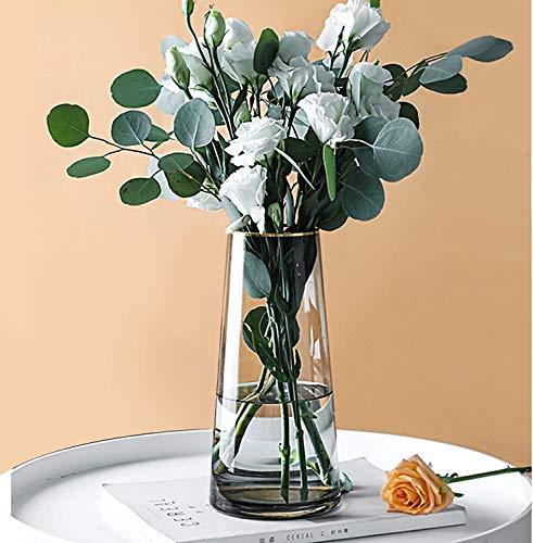 Glasvase, Ins Style handgemachte kristallklare Blumenvase Gold Linie Mund dekorative Vase Blumenblume...