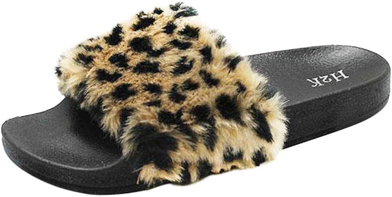 H2K Kvinnors Lora Faux Fur ljusljus Slide  Slipper Slipper Slipper -Leopard Print svart  guld  underbar