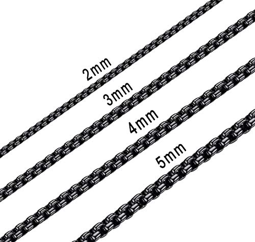Bowisheet 5MM Black Square Rolo Chain Stainless Steel Round Box Chain Necklace Men Women Jewelry