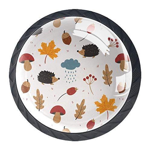 Juego de 4 pomos de armario de cocina de 3,18 cm, pomos de cristal para cajones con kit de herramientas para muebles de dormitorio, cocina, erizos, bellotas, hojas de arce, hongos