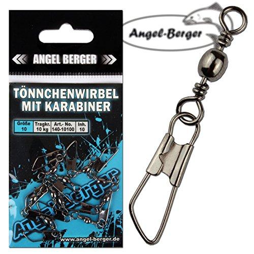 Angel-Berger Tönnchenwirbel mit Karabiner 10 Stück Wirbel (10)