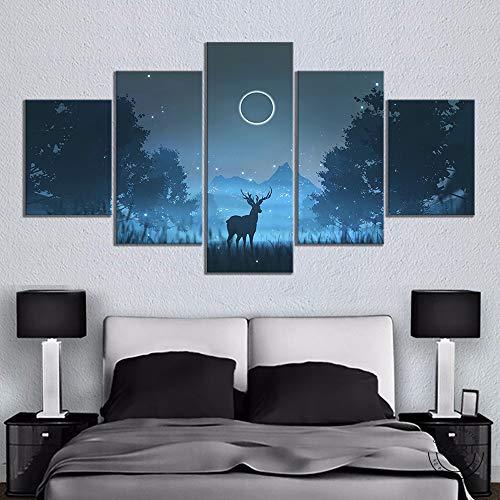 5 Stück Minimalistisch Nachtlandschaft Waldhirsch Silhouette Poster HD Wand Bild Segeltuch Gemälde Zum Wohnzimmer Wand Dekoration Gemälde,A,30×50×2+30×70×2+30×80×1