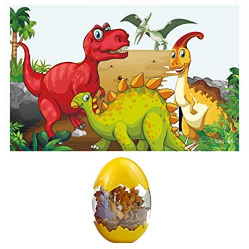 Pywee Huevos de Dinosaurio Gigantes 60 Piezas Rompecabezas de Dinosaurio de Madera Juguetes de plástico para niños Huevos de Dinosaurio Sorpresa en Caja de Color Rompecabezas de Madera