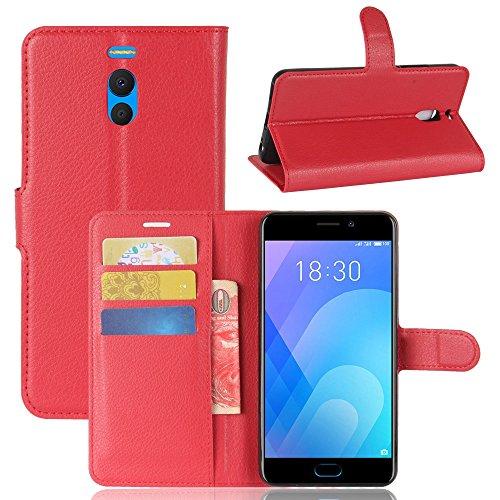 Guran® Funda de Cuero PU para Meizu M6 Note/Note 6 Smartphone Función de Soporte con Ranura para Tarjetas Flip Case Cover Caso-Rojo