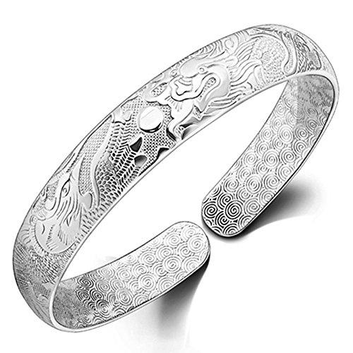 Onefeart Sterling Silber Armreif Für Damen Armband Für Mädchen Drachen Und Phoenix 10x55MM Chinesischer Stil