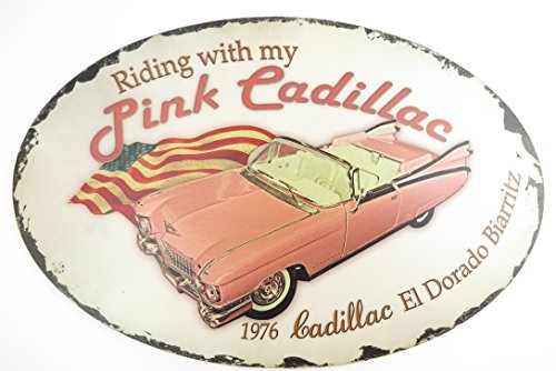 50 Cm de garage plaque ovale partykeller riding my with pink cadillac 1976 eL dORADO biarritz detroit décoration