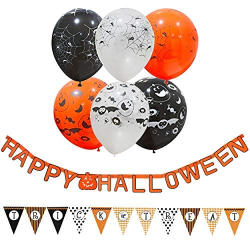 By Robelli Happy Halloween Ghirlanda + Dolcetto o Scherzetto Bandierine + 30 Halloween Palloncini