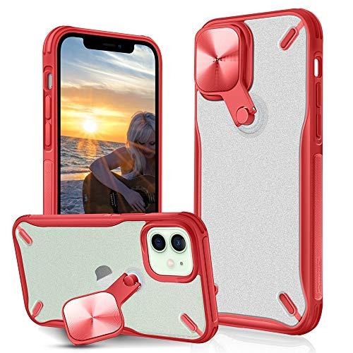 XTCASE Funda para iPhone 12 Mini, Cámara Protección y 360° Rotación Metal Soporte 2 en 1, Armor Carcasa Translúcido Robusta PC y Silicona TPU Bumper Antigolpes Anti-arañazos, Rojo