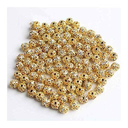 HONGTAI Metal Plated Crystal Rhinestone Ball Spacer Loose Beads Bracelet Necklace (Color : 18K gold 6mm)