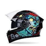 KYLong Motorcycle Helmet Men's and Women's Full Helmet Overlay Personality Cool Four Seasons Double Lens Motorcycle Racing Helmet-Ridicule_XL