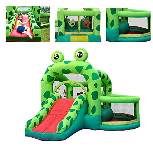 Indoor opblaasbare cartoon kasteel tuinkikker trampoline speelhuisje for kinderen indoor bounce met glijbaan + oceaan ball pool (Color : Green, Size : 300 * 330 * 235cm)