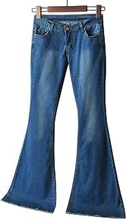 Shujin - Pantalones vaqueros para mujer, estilo retro, cintura media, pernera ancha, pantalones vaqueros elásticos